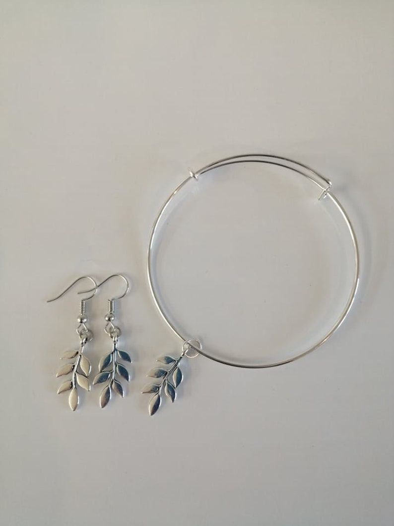 Self Gift. Silver Plated Leaf Design Adjustable Bangle and Earrings Set Pamper Gift Gift Ideas