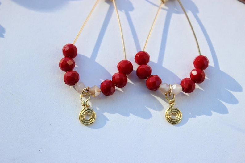 Boho Handcrafted Earrings Dangle and Drop Earrings Cranberry and Gold Earrings