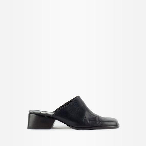 90s mules, block heels mules, leather mules, vinta