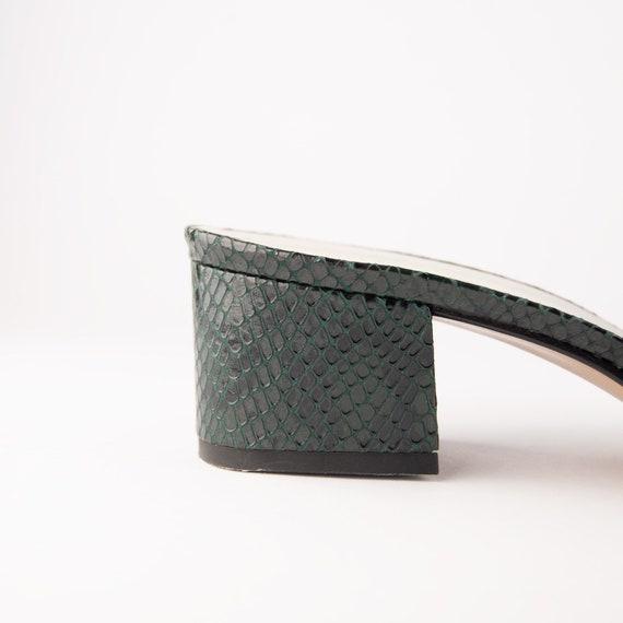 Vintage 90s Block Heel Snakeskin Mules - image 6
