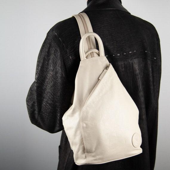 90s Leather Backpack, Vintage Leather Backpack, L… - image 1