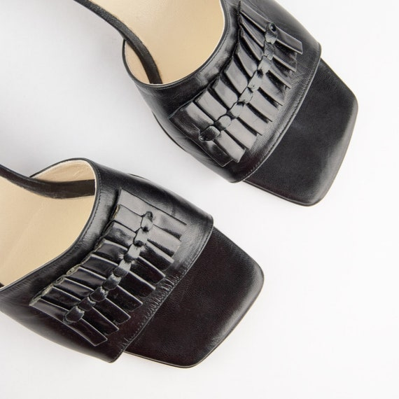 Vintage 90s Block Heel Leather Mules - image 2