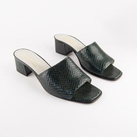 Vintage 90s Block Heel Snakeskin Mules - image 5