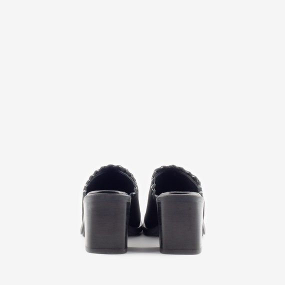 Black Suede Mules, Western Style Mules, Square To… - image 4