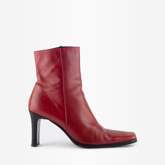 90s Ankle Boots, Red Leather Boots, Square Toe Boo