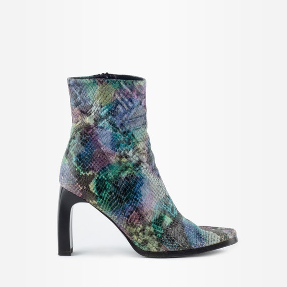 Snakeskin Boots, 90s Boots, Square Toe Boots, Vint