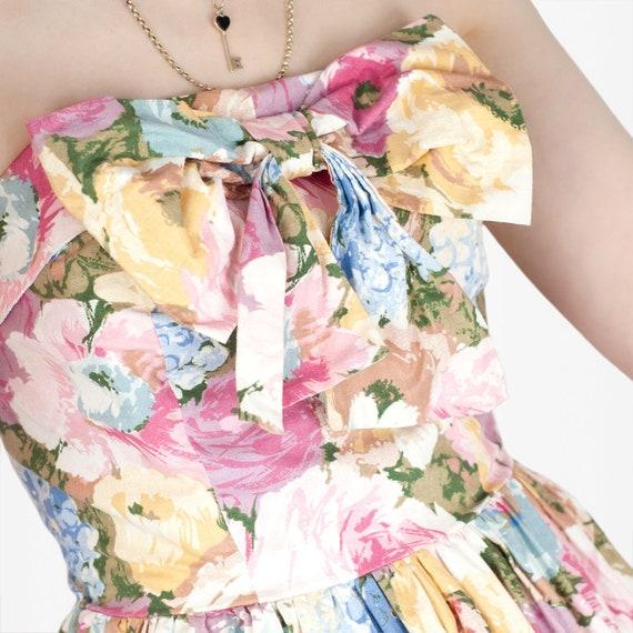 80s Floral Cotton Dress - image 4