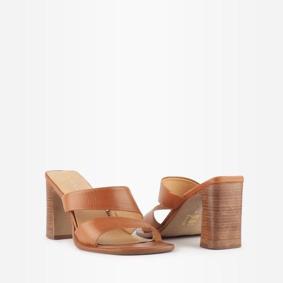 Vintage 90s Tan Block Heel Sandals / Mules - image 2