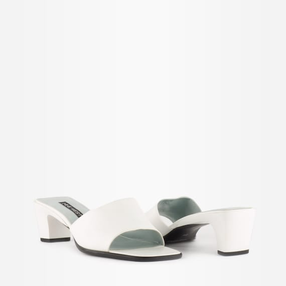 Vintage 90s White Leather Square Toe Mules - image 2