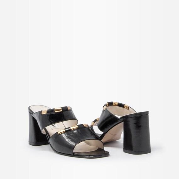 Vintage 90s Block Heel Strappy Mules - image 2