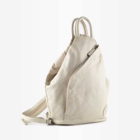 90s Leather Backpack, Vintage Leather Backpack, L… - image 2