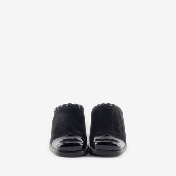 Black Suede Mules, Western Style Mules, Square To… - image 3