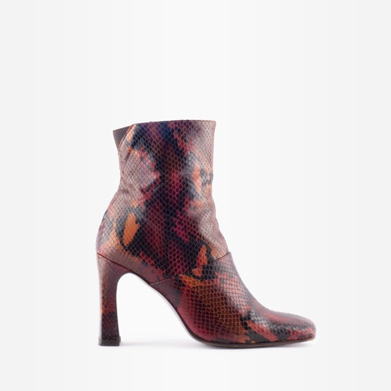 Snakeskin Boots, Square Toe Boots, 90s Boots, Vint
