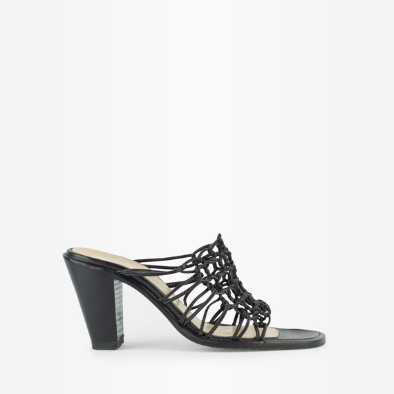 Vintage 90s Y2K Knotted Leather Heeled Mules - image 1