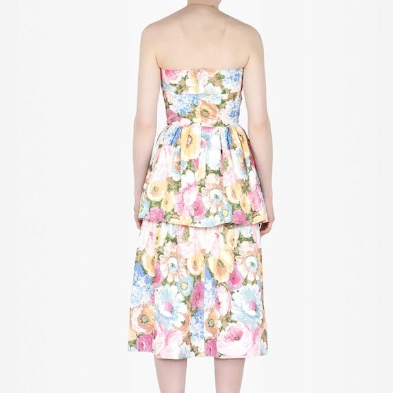 80s Floral Cotton Dress - image 3