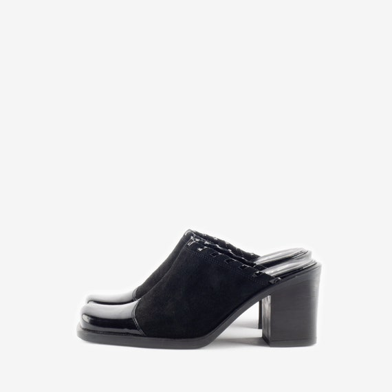 Black Suede Mules, Western Style Mules, Square To… - image 2