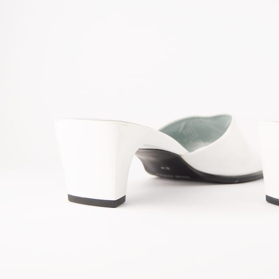 Vintage 90s White Leather Square Toe Mules - image 4
