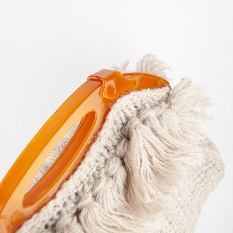 Vintage Top Handle Bag Vintage Knit Bag Vintage Knit Purse Handmade Bag