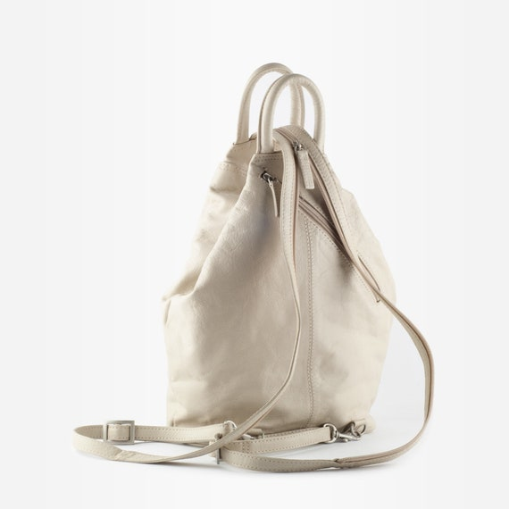 90s Leather Backpack, Vintage Leather Backpack, L… - image 4