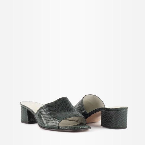 Vintage 90s Block Heel Snakeskin Mules - image 2