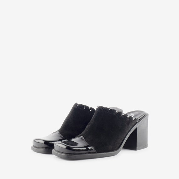 Black Suede Mules, Western Style Mules, Square To… - image 1