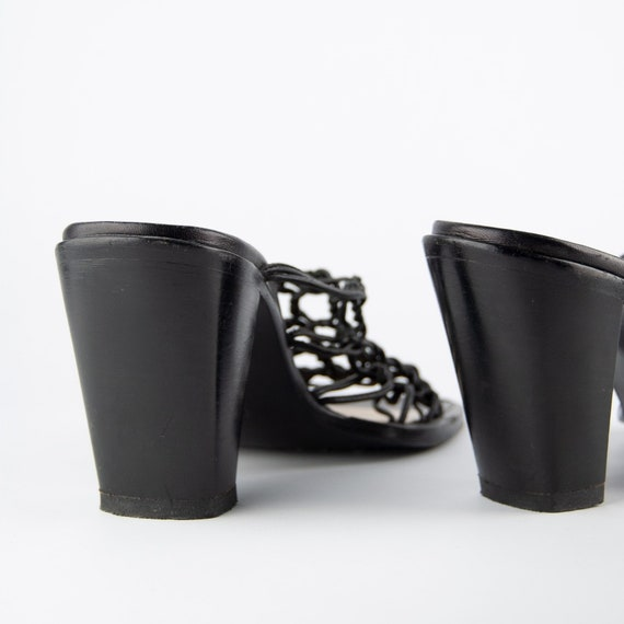 Vintage 90s Y2K Knotted Leather Heeled Mules - image 4