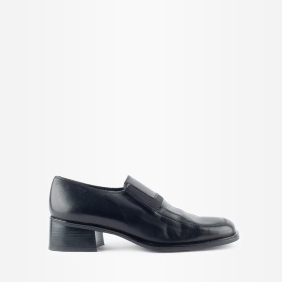 90s Shoes, 90s Loafers, Leather Loafers, Block Hee