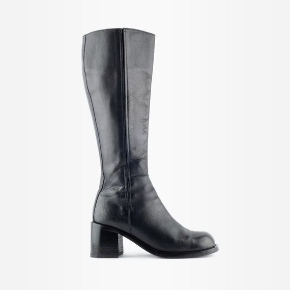 90s Knee High Boots, Chunky Leather Boots, 90s Boo