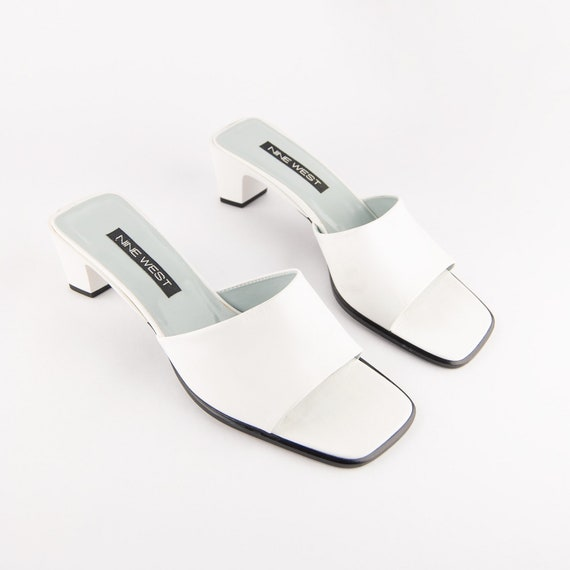Vintage 90s White Leather Square Toe Mules - image 3