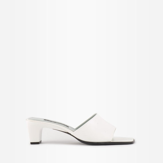 Vintage 90s White Leather Square Toe Mules - image 1