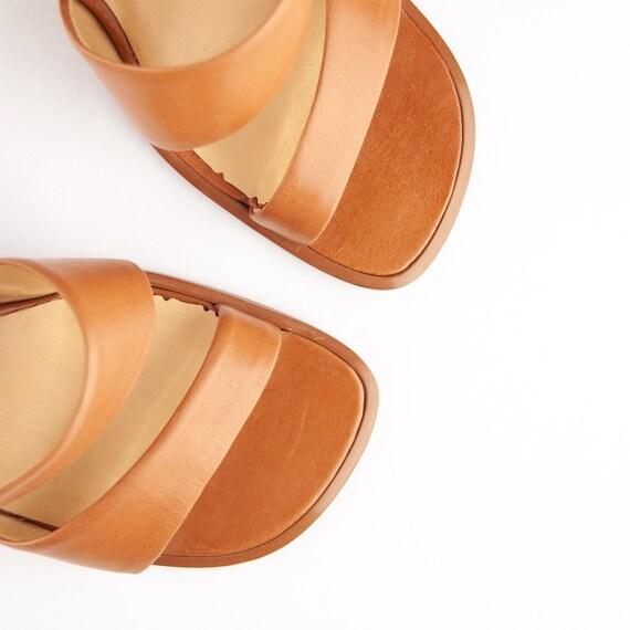 Vintage 90s Tan Block Heel Sandals / Mules - image 3