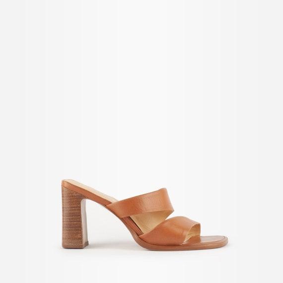 Eur 39 Uk 6 US size 8.5 Brown Italian Mules Sandals 90s Slingback Heels Leather Mules Shoes Made in Italy Footwear Slide On Heels