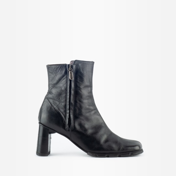 90s Boots, Square Toe Boots, Leather Ankle Boots,