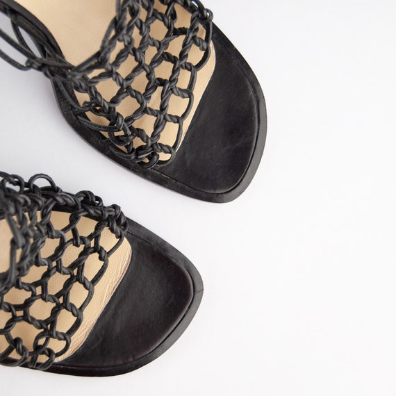Vintage 90s Y2K Knotted Leather Heeled Mules - image 3