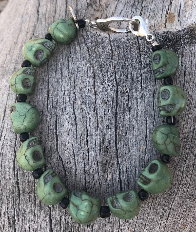 Green skull bead freedom bracelet