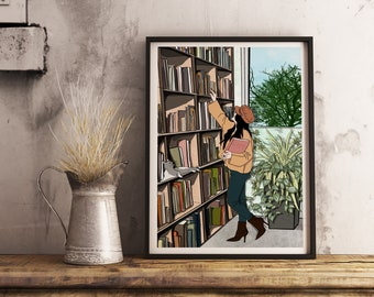 Printed illustration for gift giving, library, postcard, gift, gift, message card
