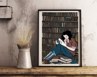 Printed illustration for gift, library reading, postcard, gift, gift, message card