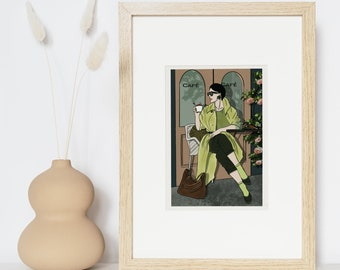 Illustration, drawing, woman at the terrace of a cafe, postcard, to offer, gifts, print, message card