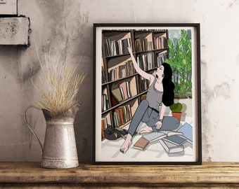 Printed illustration to offer, A young woman at the library, postcard, to offer, gifts, message card