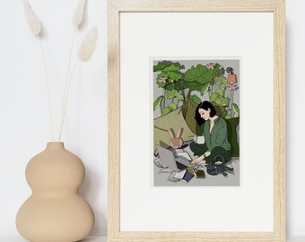 Illustration, drawing, a woman works at home, postcard, to give, gifts, print, message card