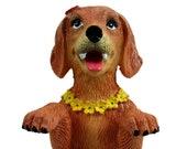 Dashboard Hula Dog Golden Retriever Car Bobblehead Figurine 6 Inches Green Grass Skirt Hawaiian Lei Desk Mantle