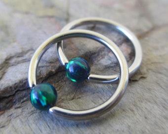Steel Autumn Fire Opal Stone Bead CBR Ring Hoop 14G 16G Nose Cartilage Septum Lip Earring Piercing Multi-Color