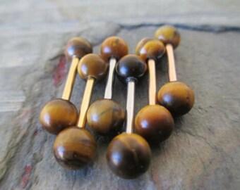 Rose Gold Natural Mahogany Jasper Stone Nipple Tongue Ring Barbells Bars 14G Piercings Piercing Tiger-Eye 1.6mm