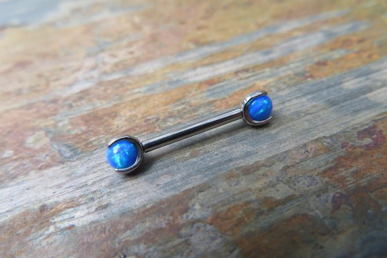 14G Internally Threaded 4mm Blue Fire Opal Stone Pronged Nipple Piercing Bar Barbells 14G 1.6mm Piercings