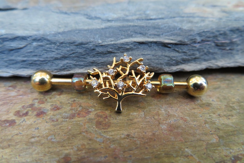 1.6mm Piercing Piercings Gold Tree of Life Industrial Scaffold Bar Barbell Barbells 14G