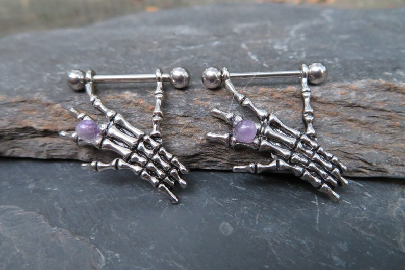 16G 1.2mm Pair Amethyst Skeleton Hands Nipple Shields Ring Barbells Bars 14G Piercings Piercing 1.6mm