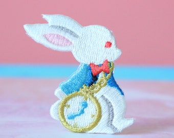 Alice/'s Adventures in Wonderland patch rabbit  embroidered patch,Sew on patch,Iron on patch Applique,Edge Burn out