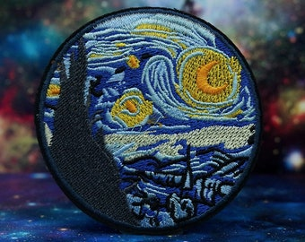 Van Gogh Impressionist Art Patch Art Lover Gift Van Gogh Art Badge Embroidered Applique Art Applique Starry Night Iron-on Patch