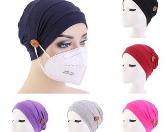 Chemo Beanie Headwear Hat Cotton Beanie Hat with buttons to hold face mask Soft Cotton Cap Turban Head Wrap Hair Scarf