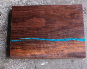 Walnut Charcuterie Board with Turquoise Inlay